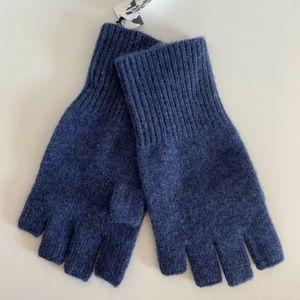 Halogen Blue 100% Cashmere fingerless knit gloves